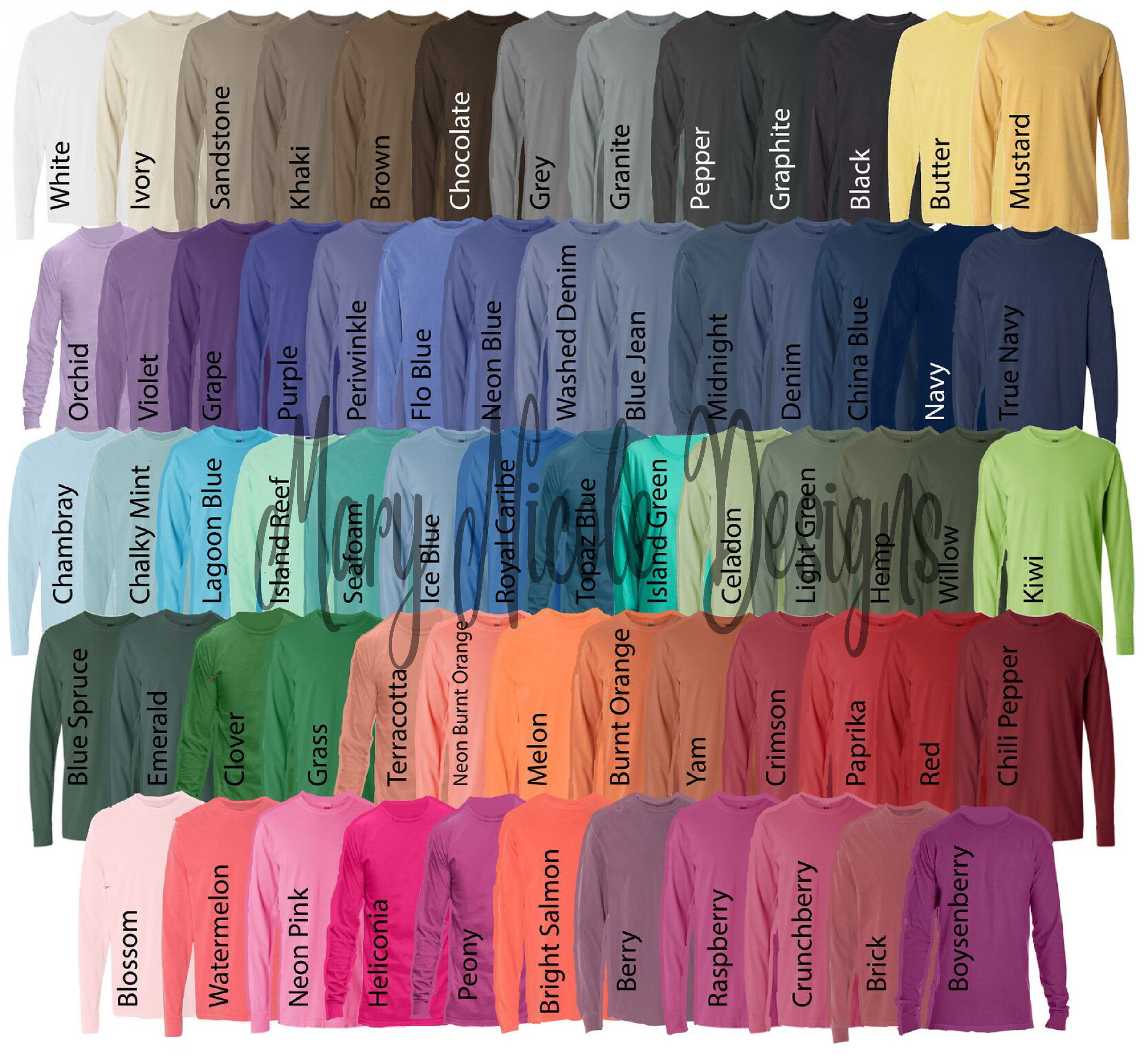 Comfort Colors 6014 All Color Chart Etsy Color Chart Tshirt
