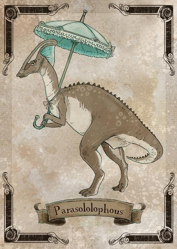 Parasololophous steamPUNk dinosaur art print 8x10