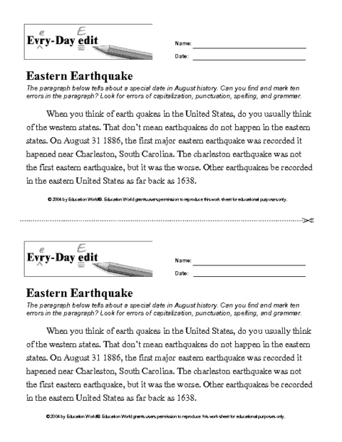 Eastern Earthquake Spelling Question Marks Subject Verb