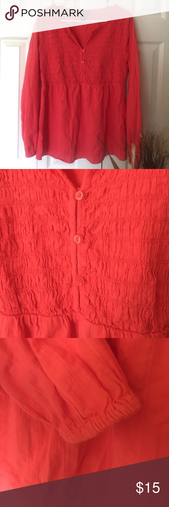 Deep coral 14/16 crinkle top Crinkle textured cotton. Gorgeous deep coral  color.