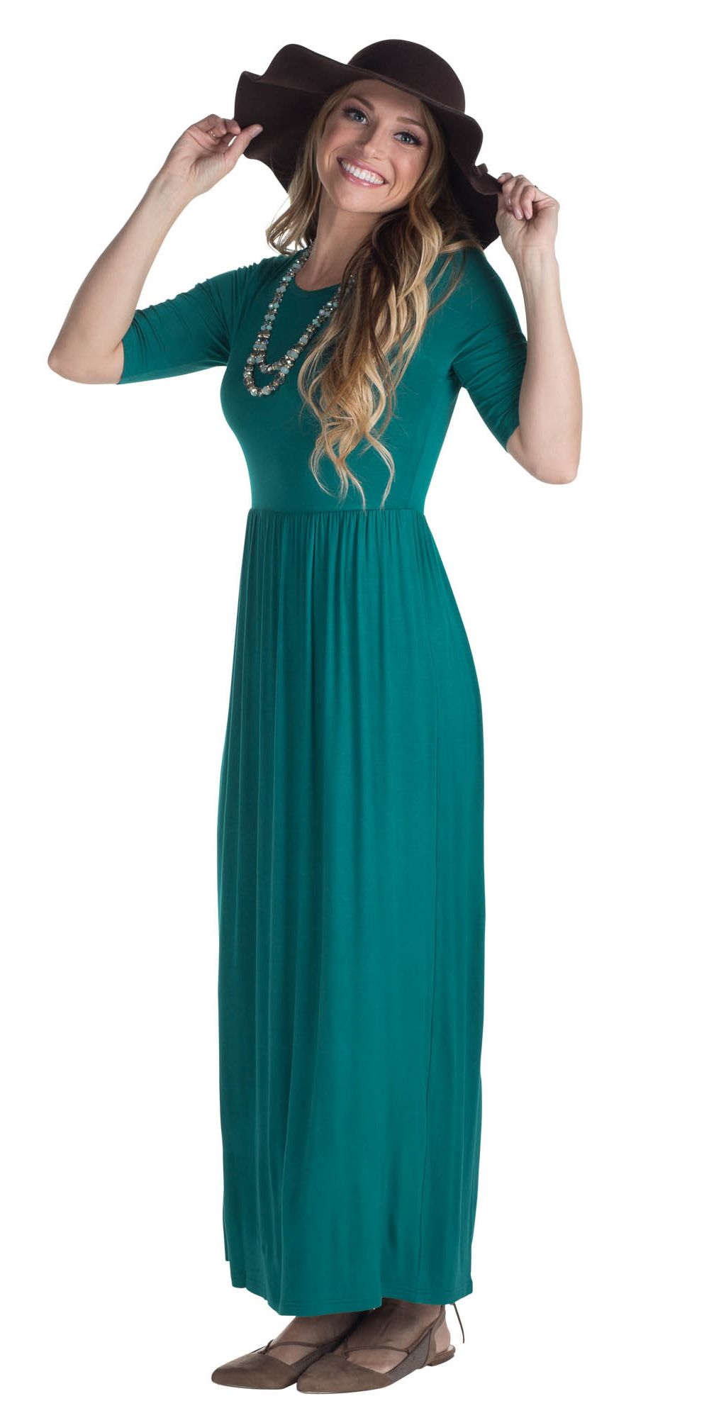 7ecdfb99717c Jen Modest Maxi Dress with Half Sleeves in Deep Lake Teal *RESTOCKED ...