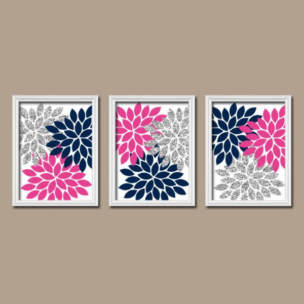 glitter navy hot pink gray wall art bedroom canvas or prints bathroom artwork bedroom pictures flower pictures flower burst dahlia set of 3