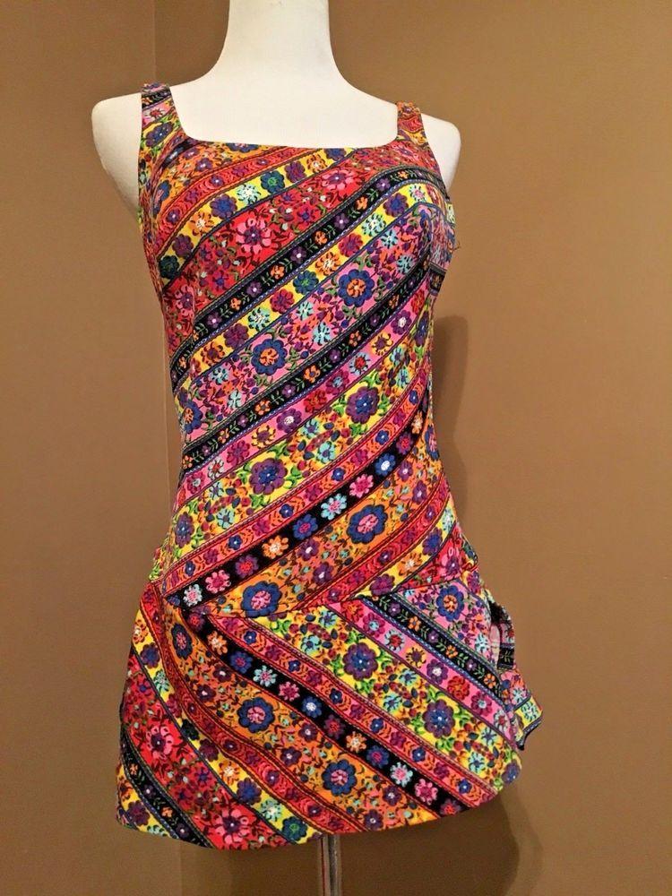 f3eacc3ea8091 Vintage Rose Marie Reid one piece Bathing Suit swim dress Nylon Size 14  #RoseMarieReid