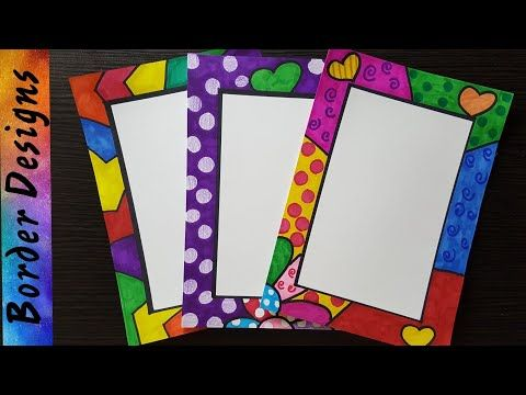 How to make easy page border designs for assignment school projects part youtube also pin by think creative on cover design paper rh pinterest
