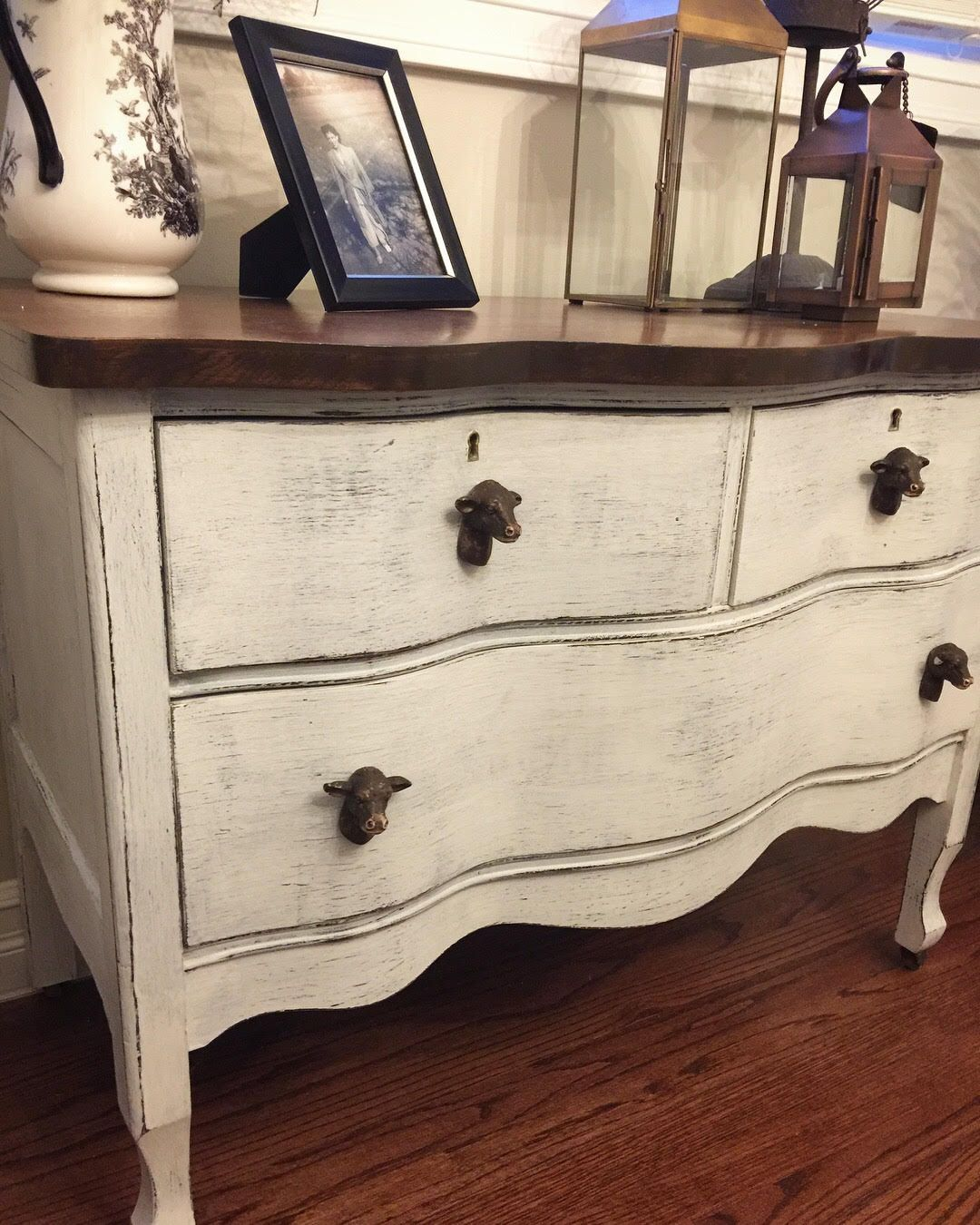 Shabby Chic / Farmhouse style dresser with adorable cow