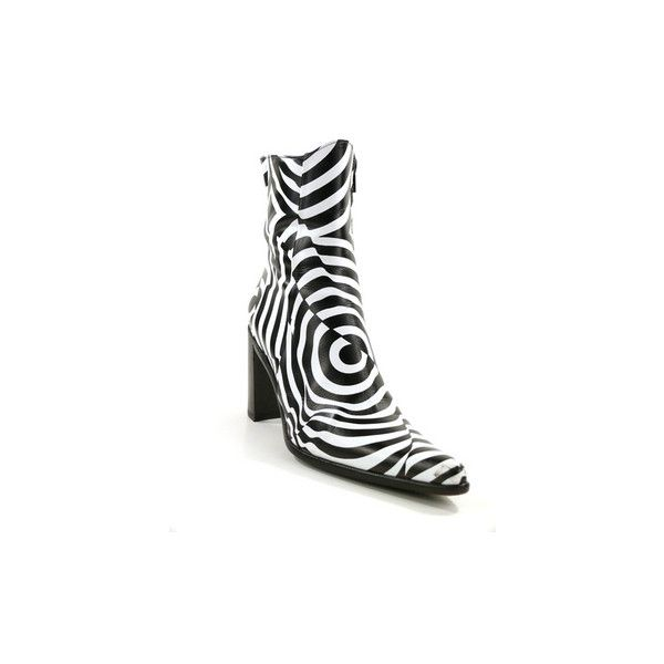 Freelance freelance black and white print genuine leather pointed toe ankle boots step out in