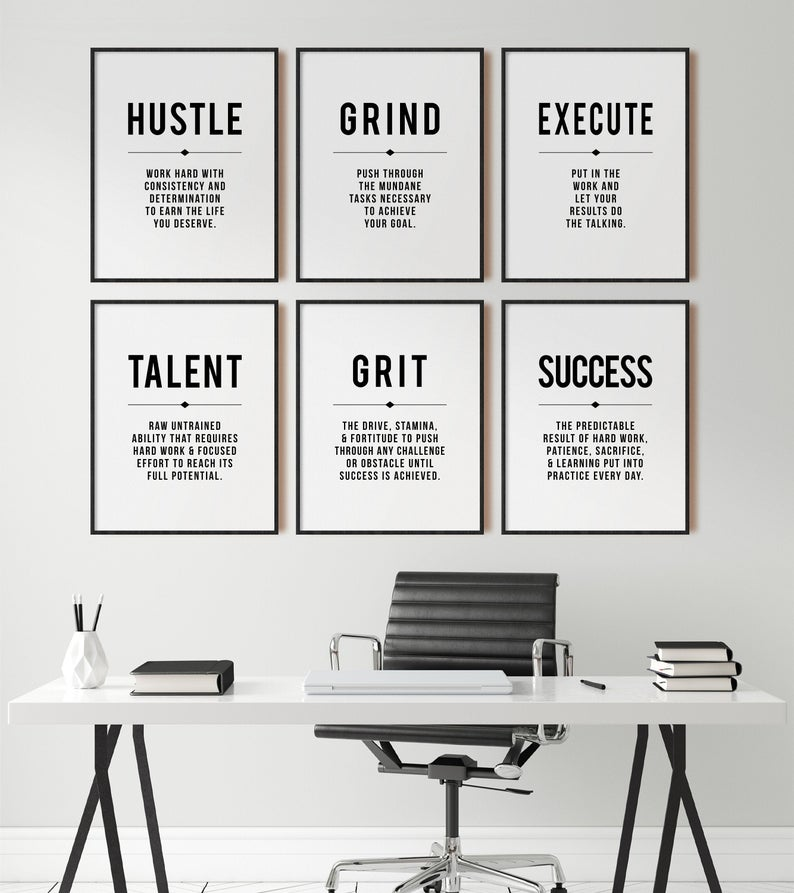 Hustle Quote Grind Definition Office Wall Art Gallery Set Of 6 Prints Modern Business Motivational Decor Inspirational Printable Art Office Wall Design Office Wall Decor Office Decor Professional