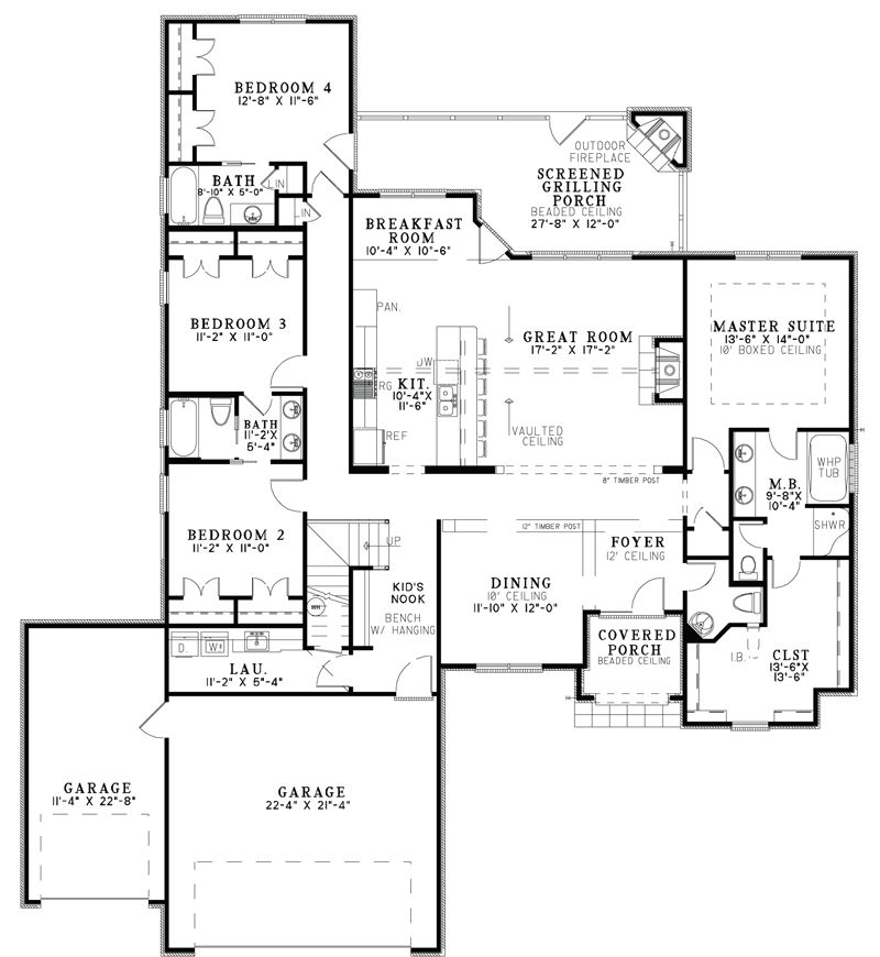 Plan THD-NEH-4542 Heated Area 2413 Sq Ft First Floor 2413 Sq