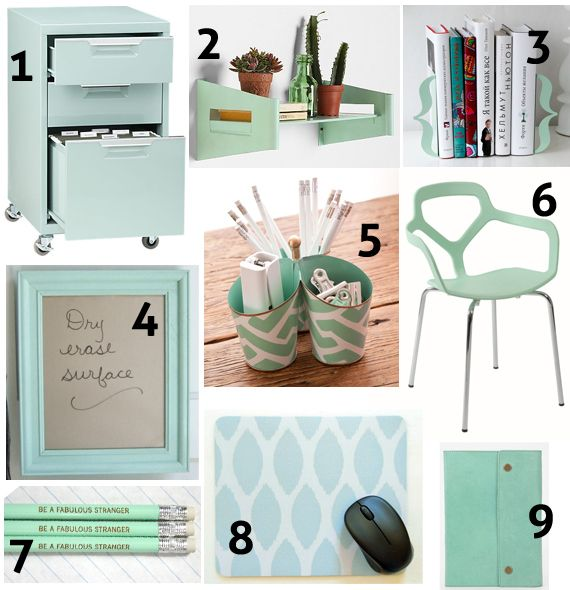 accessories | mint green decor, green office and mint decor