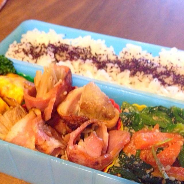 納豆卵焼き ほうれん草胡麻和え ブロッコリー ゆかり御飯 - 49件のもぐもぐ - えのきのベーコン巻き弁当 by kunikichi