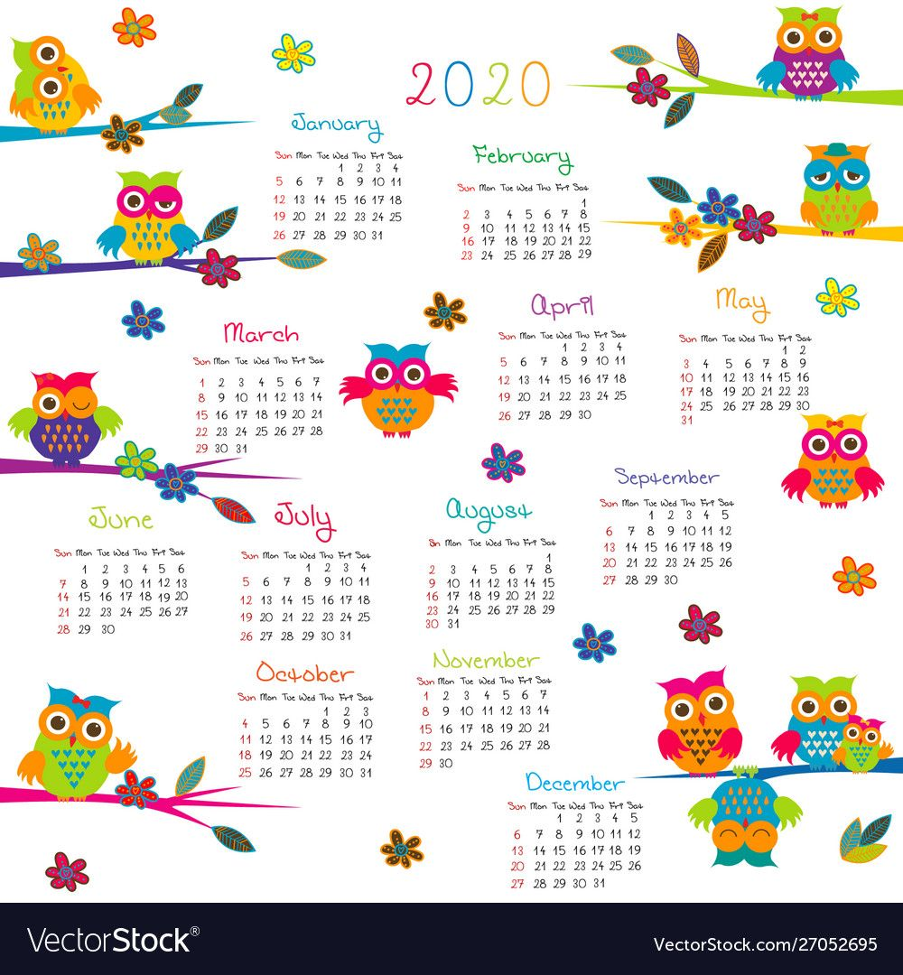 2020 calendar with cartoon owls vector image on em 2020