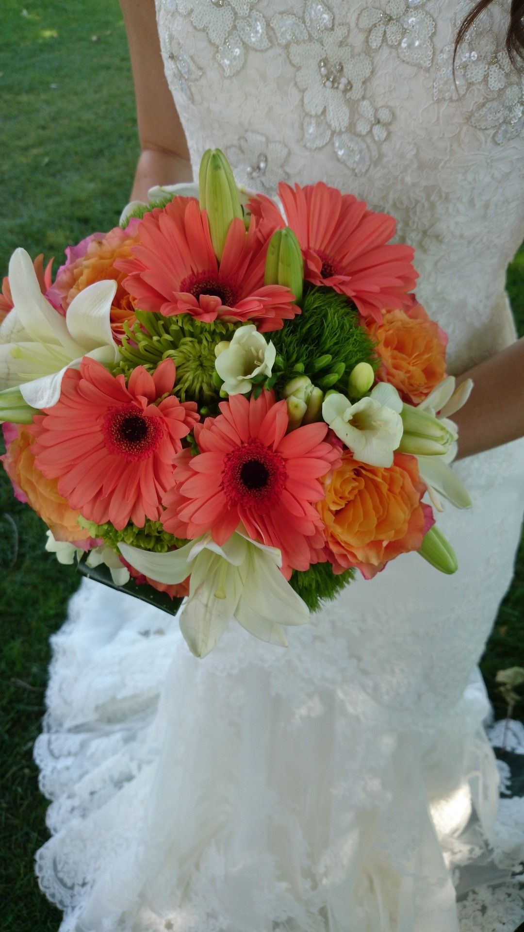 Serene Coral Bouquet Made With Coral Gerbera Daisies Green Lilies