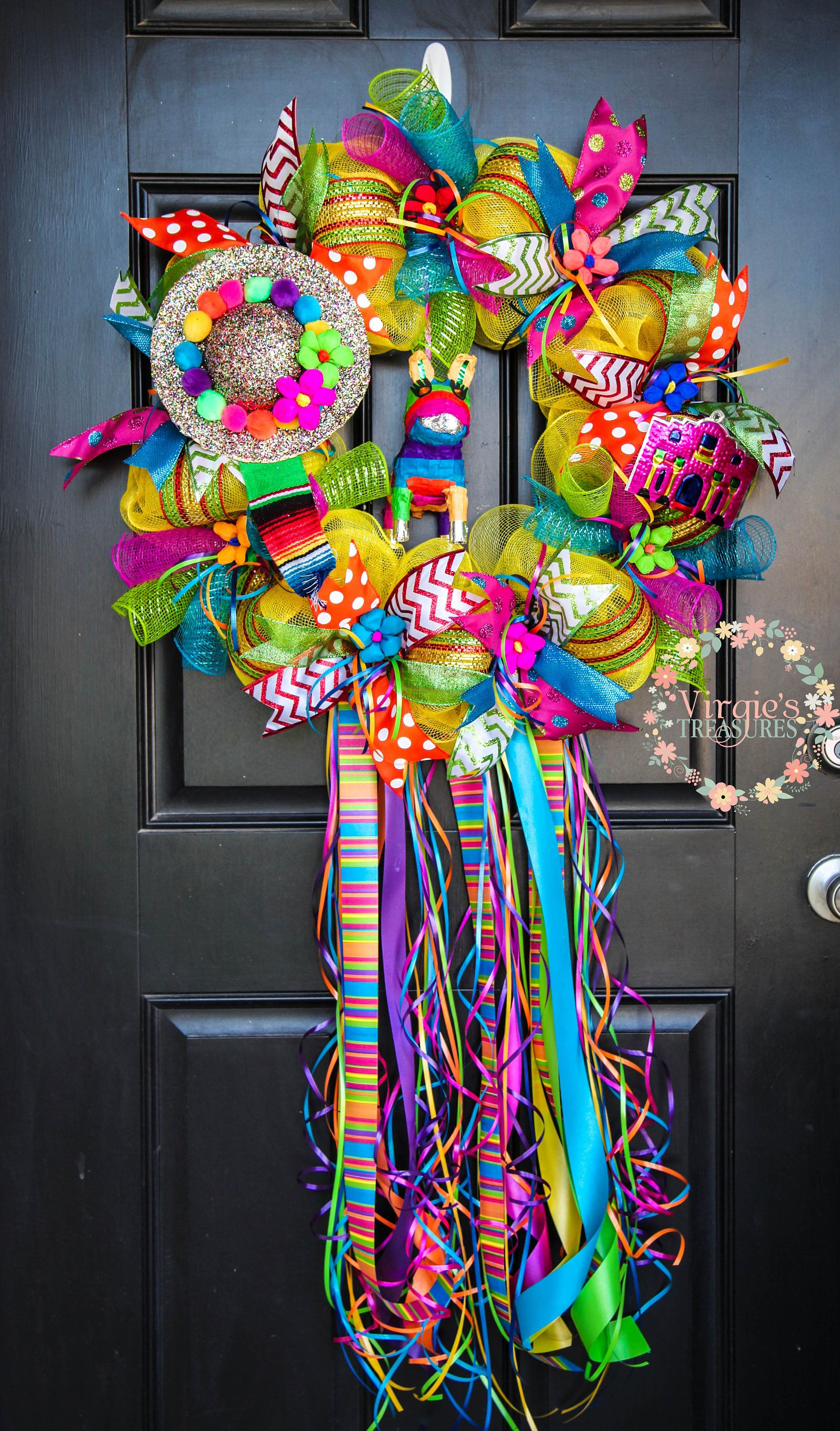 Fiesta Wreath 2018 Viva San Antonio Glitter Sombrero Deco Mesh With Streamers And Ribbons Party Theme By