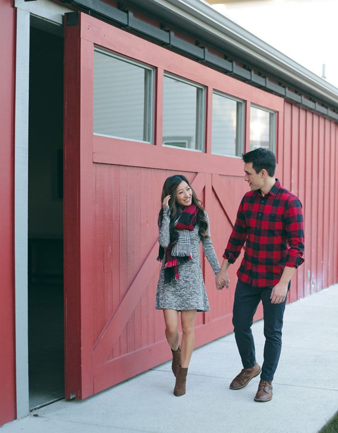holiday couple family christmas card photos outfit idea - Cozy Napa Valley Getaway // His & Hers Casual Holiday Style Extra