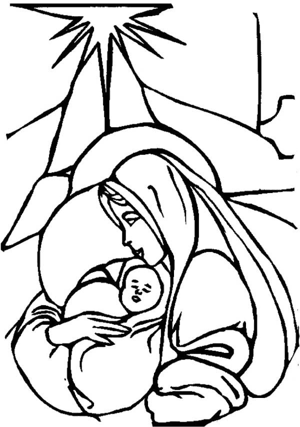 Christmas Coloring Pages Mary And Baby Jesus Coloring Page Kids
