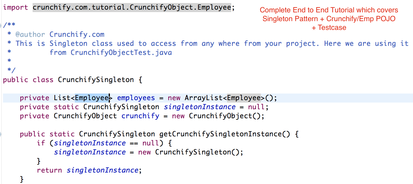 Complete End To End Java Tutorial With Singleton Object Employee