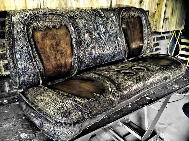Hand Tooled Leather Custom Seat For A Show Truck Original Artwork And Design By Misfit Skinny Kustoms Upholstery Interior