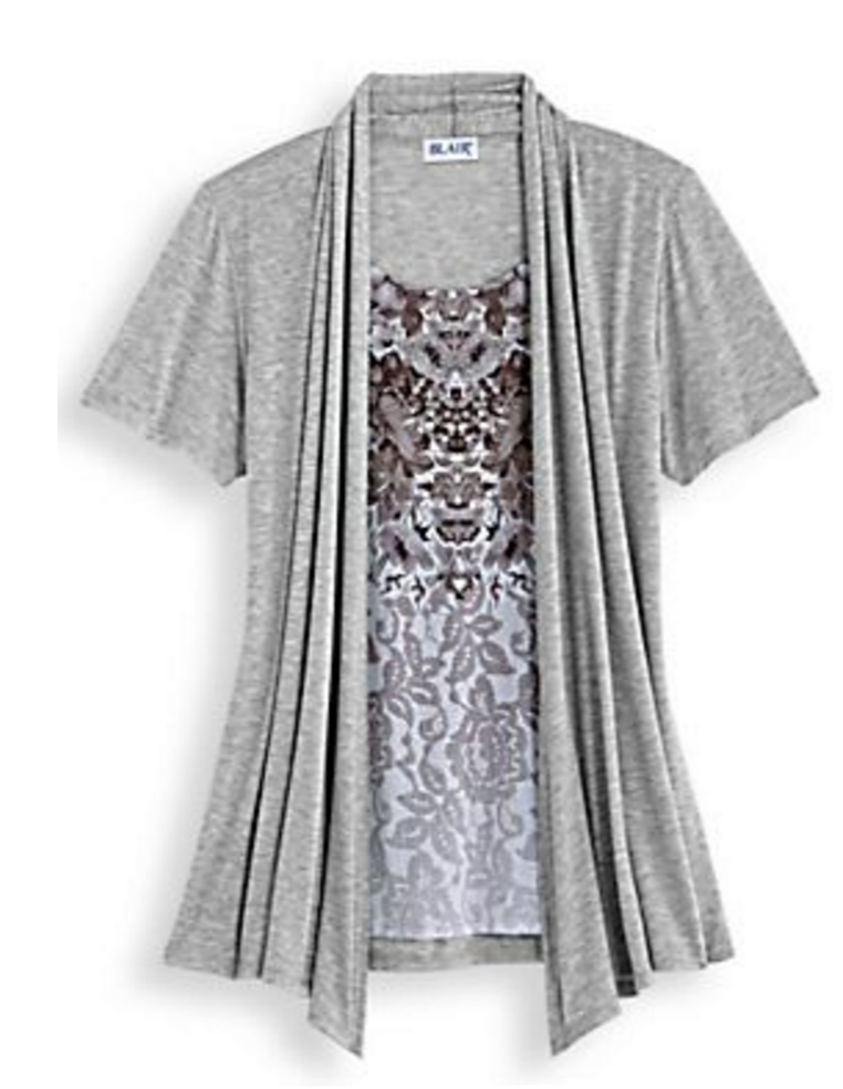 Two In One Art Top Open Front Cardigan Gray Womens Medium