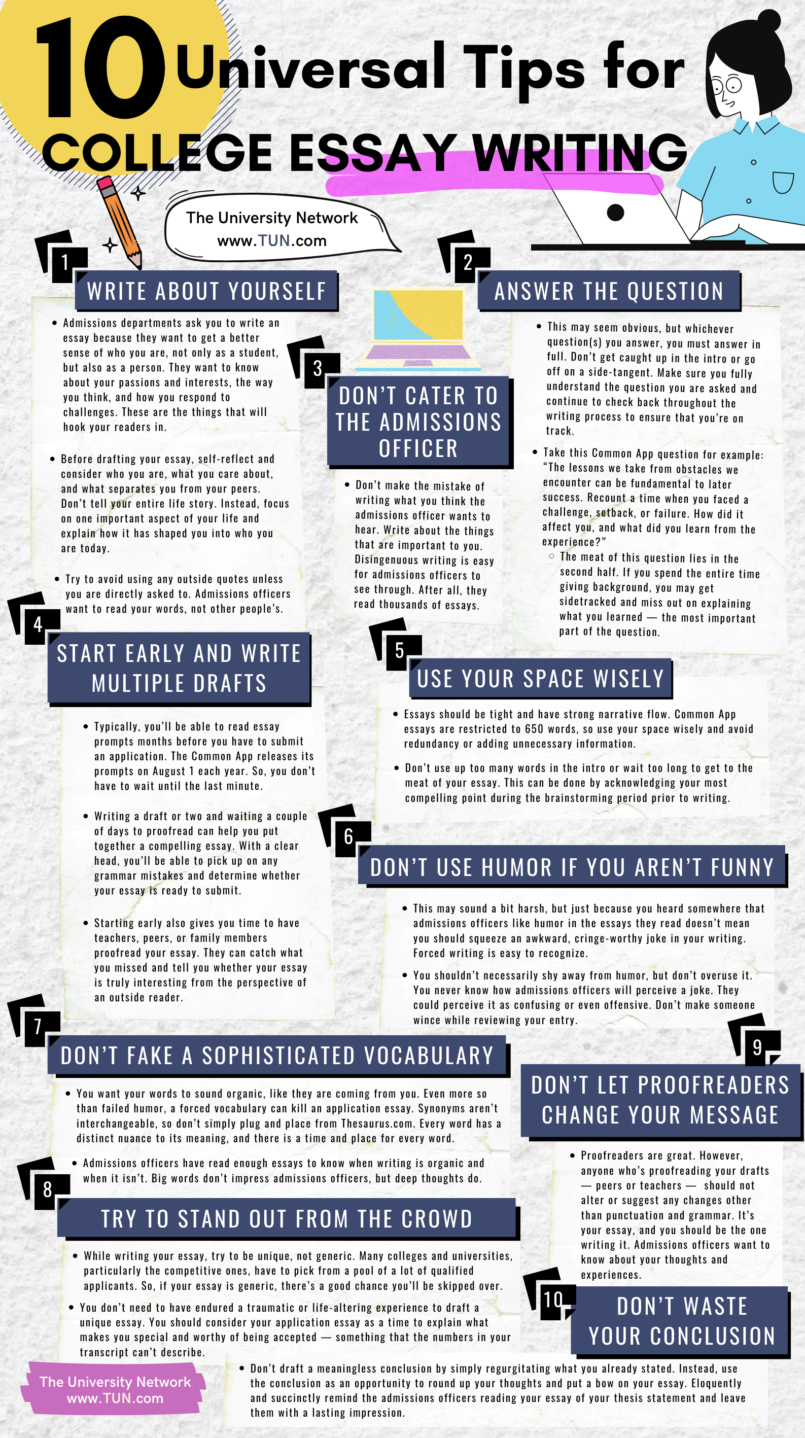 10 Universal Tips For College Essay Writing | The University Network