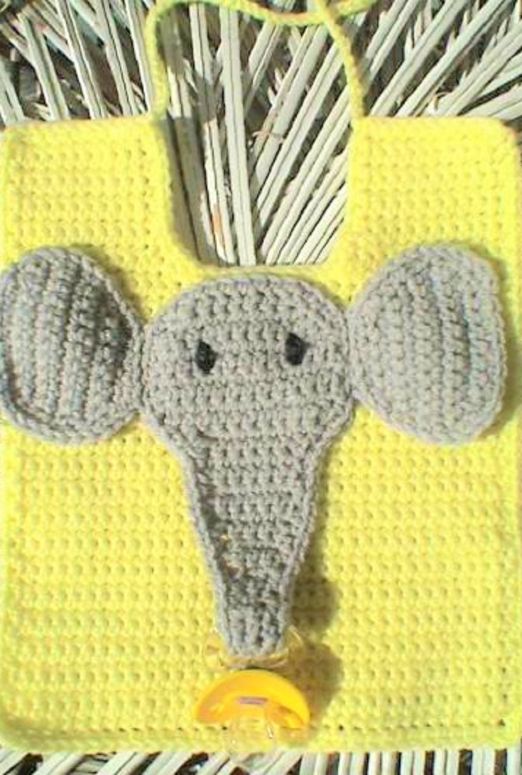 Free Pattern Cute Elephant Pacifier Bib Crochet Tips And Patterns