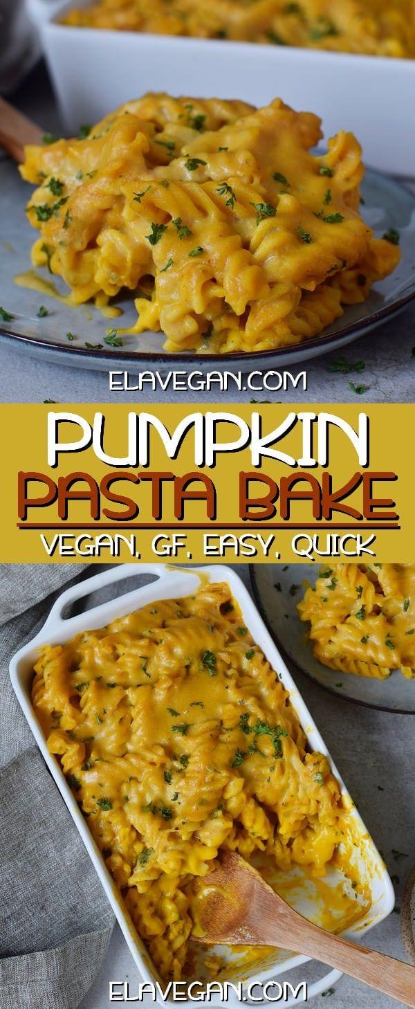 Creamy Pumpkin Pasta Bake | Easy Vegan Casserole Recipe - Elavegan