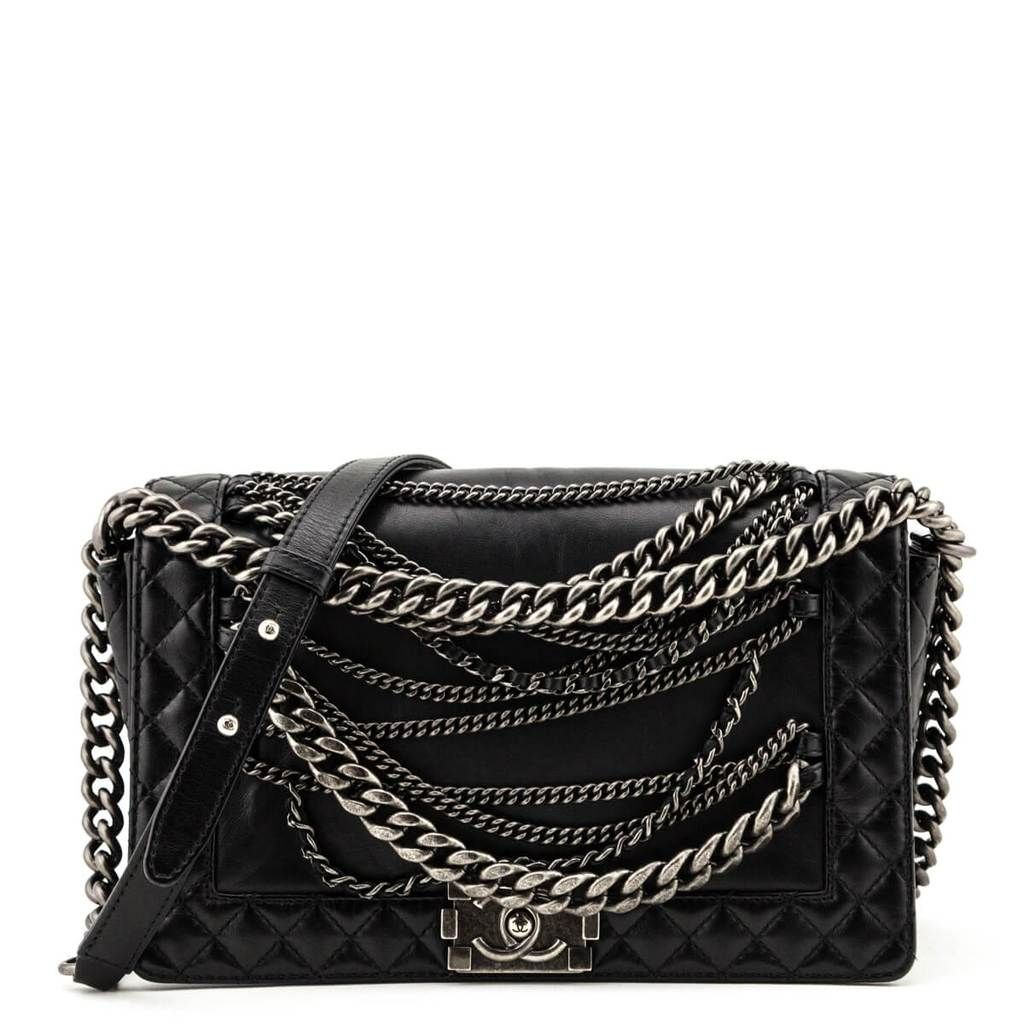 Chanel Black Calfskin Medium Enchained Boy Bag Сумки