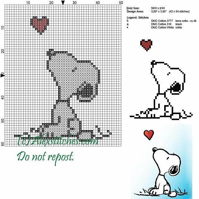 Snoopy and the heart cross stitch pattern 50x62 3 colors | Cross ...