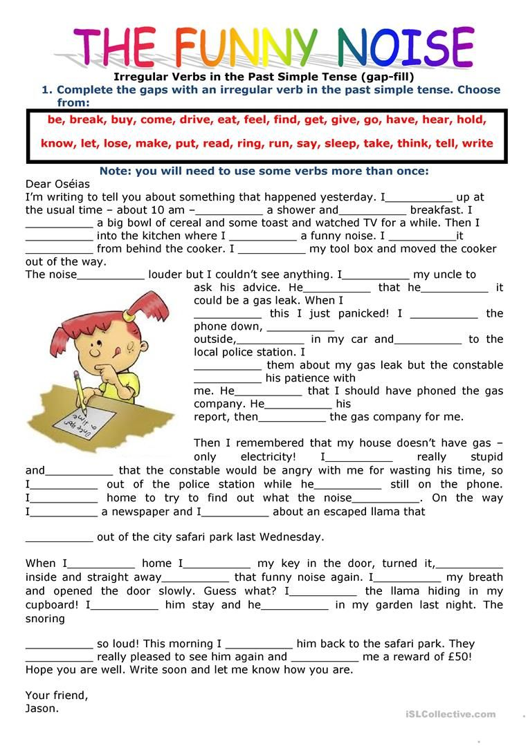 Past Simple Tense Filling In The Gaps Using The Verbs In The Past Simple English Esl Worksheets In 2020 Irregular Verbs Teaching English Grammar Simple Past Tense