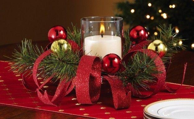 Centro de mesa navide o hecho con cinta buscar con - Centros florales navidenos ...