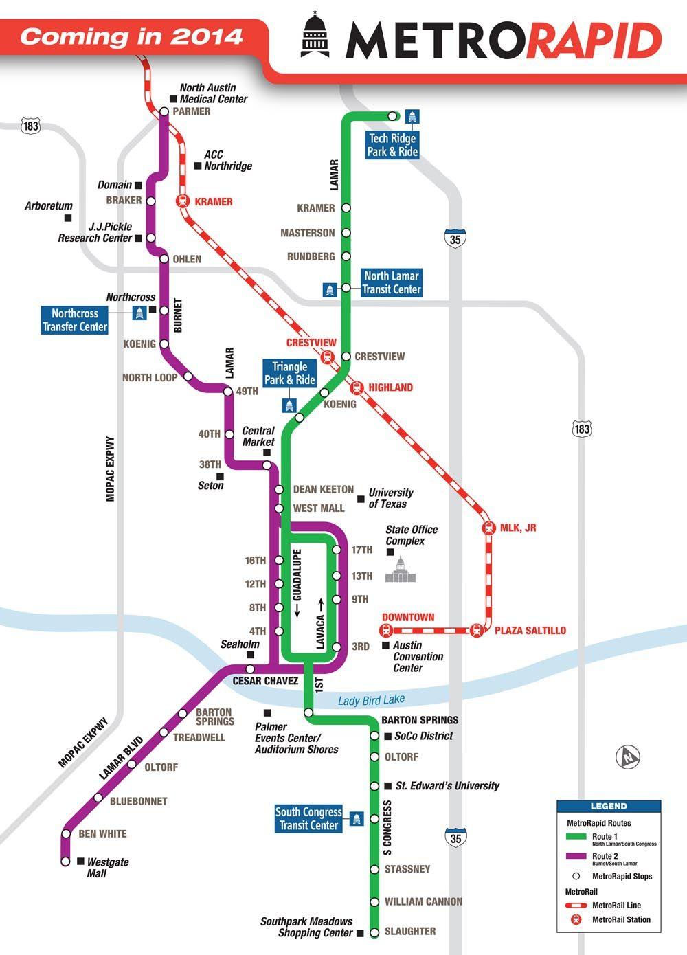 image of Austin Cap Metro rapid map - Google Search | Urban Mass ...
