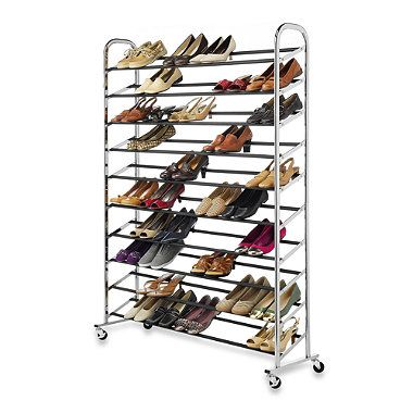 Bed Bath Beyond Shoe Storage.60 Pair Commercial Grade Rolling Shoe Rack In Chrome