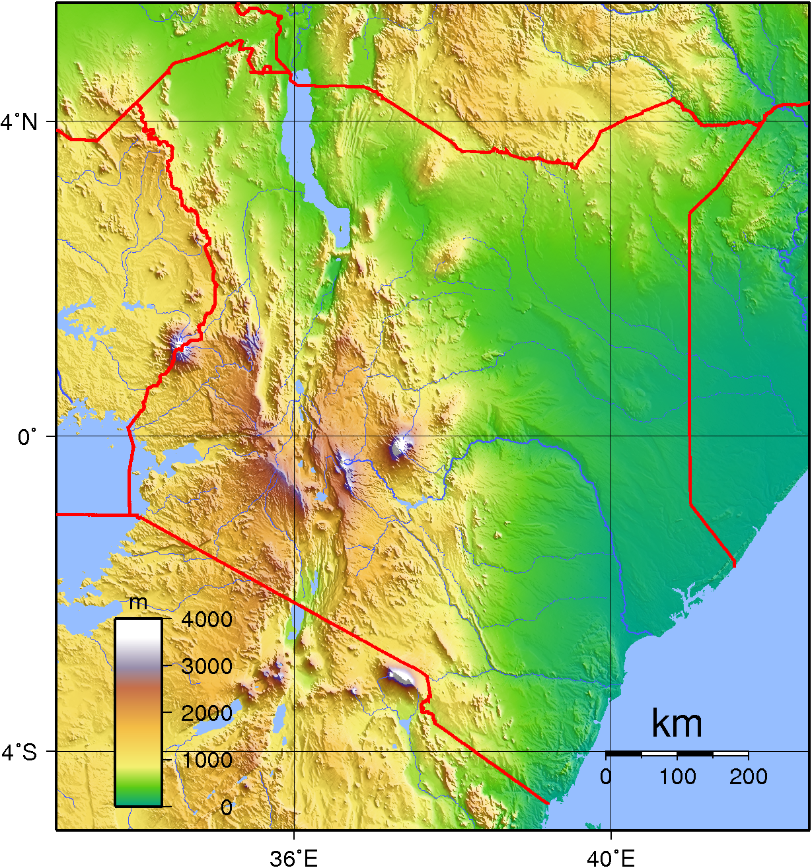 Topographic map of Kenya MAPS Pinterest Topographic map and Kenya