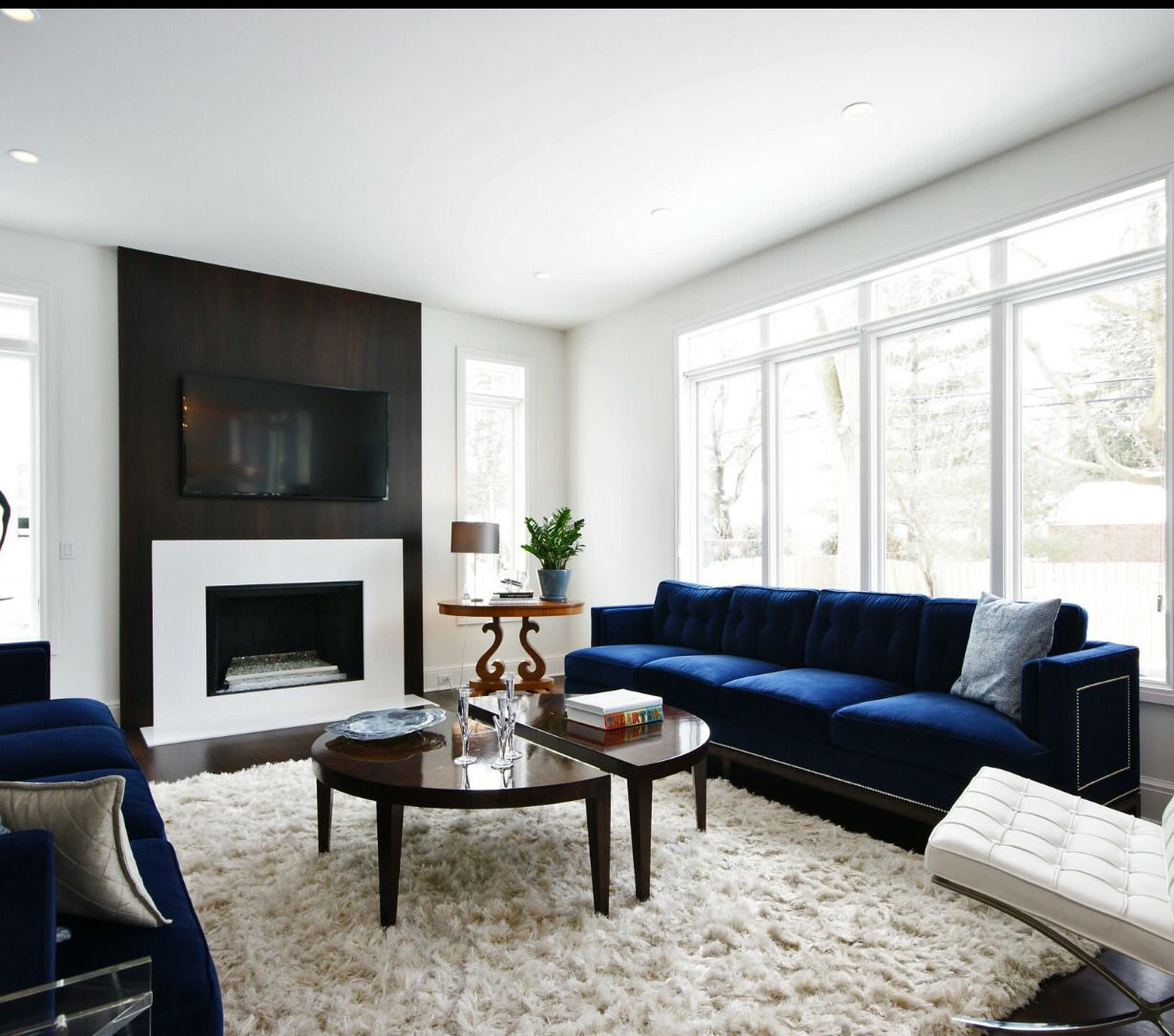 Blue Sofa With Shaggy Rug Blue Living Room Decor Blue Sofas