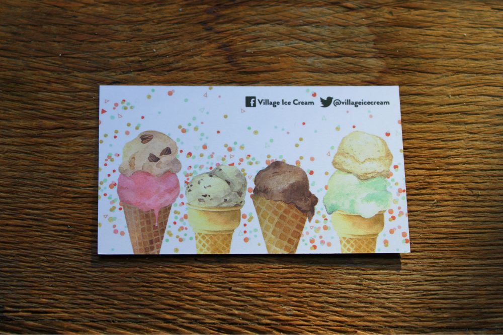 15pt Uncoated 100% Recycled business cards for Village Ice Cream in ...