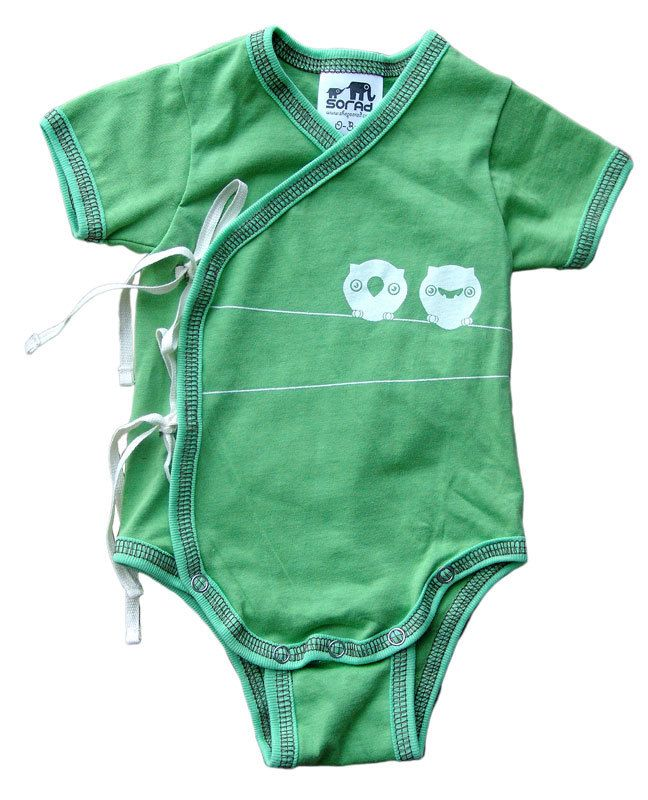 Green Owl Short Sleeve Kimono Onesie with Ties. $24.00, via Etsy.