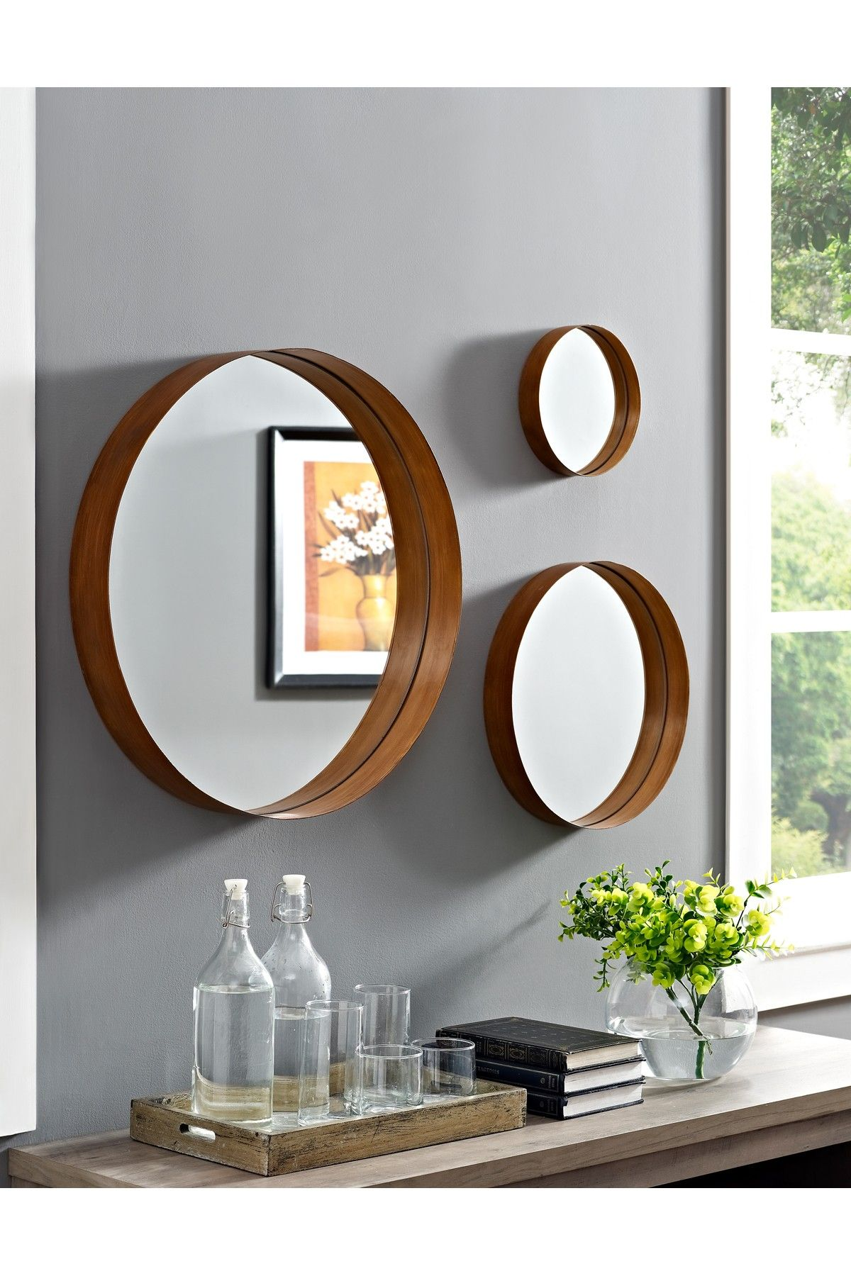 Walker Edison Furniture pany Banded Round Copper Mirrors Set of
