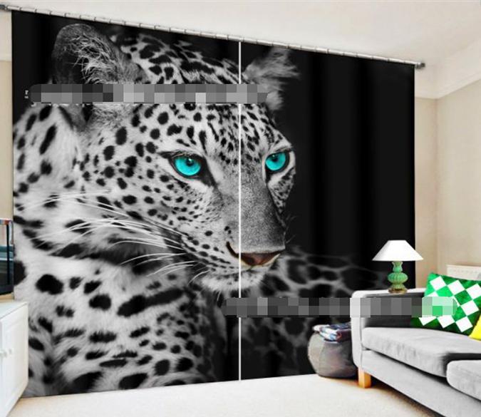 2 Panel 3D White Tiger Print Door Curtains Blackout Window Panels Drapes