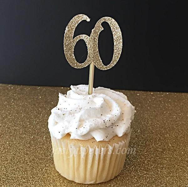 60th Birthday Party Gold Glitter Cupcake Toppers Gold glitter