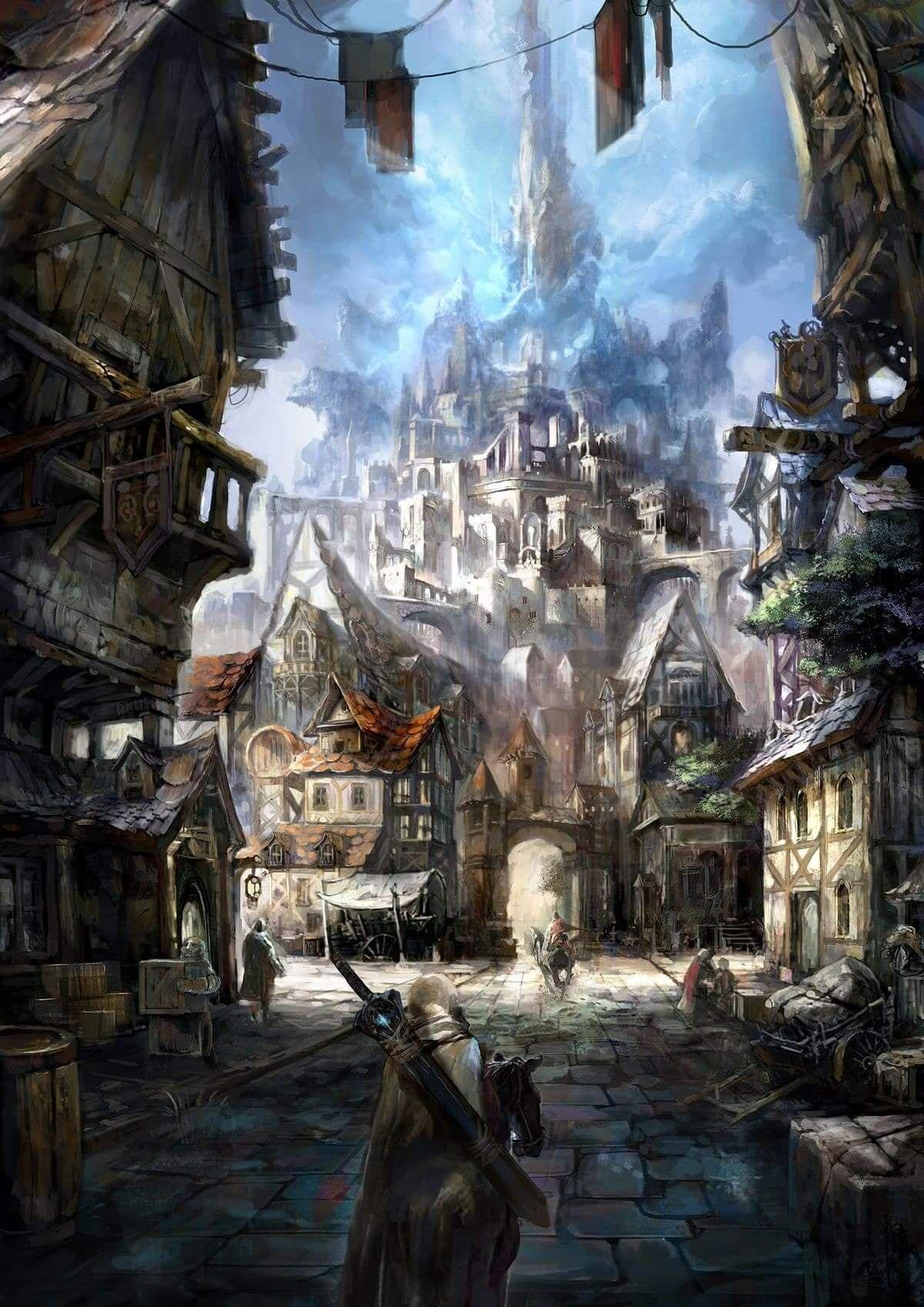 Fantasy inspiration. Artist unknown. | Fantasy landscape ...