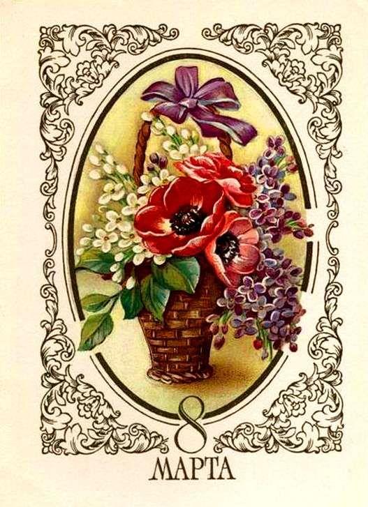 Первые открытки 8 марта, три поросенка домики
