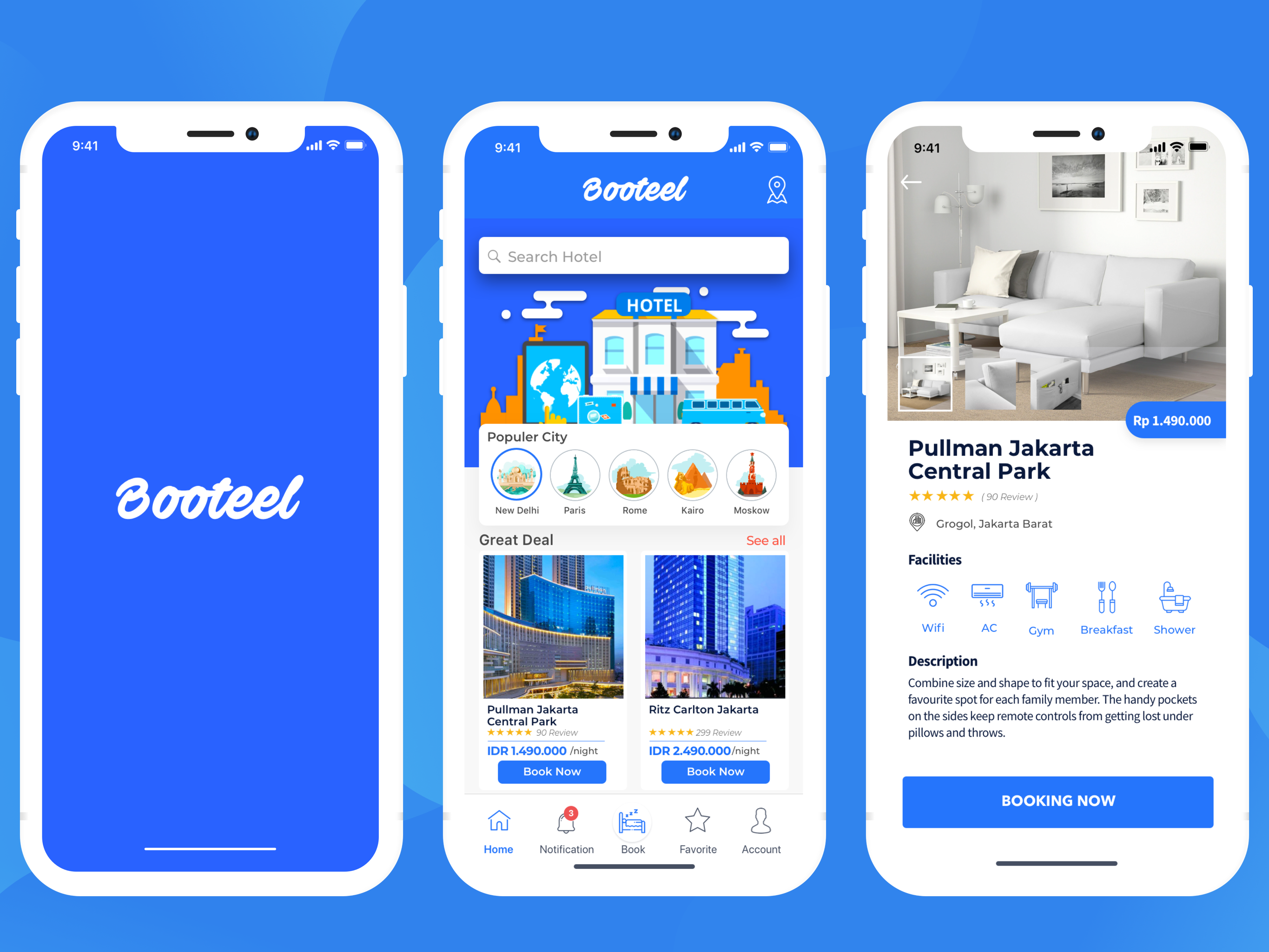 Hotel Booking Mobile App Design Paris Hotel Central Park