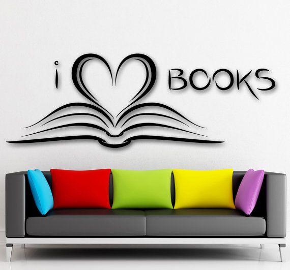 Wall Sticker Vinyl Decal I Love Books Bookworm By Wallstickersyou - Vinyl wall decals books