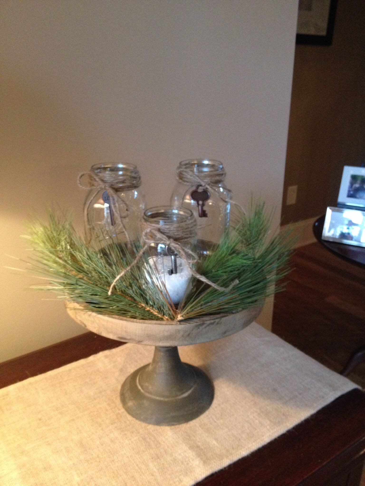 Rustic Table Stand From My Favorite Local Home Decor Store In Dawsonville  With Mason Jars,