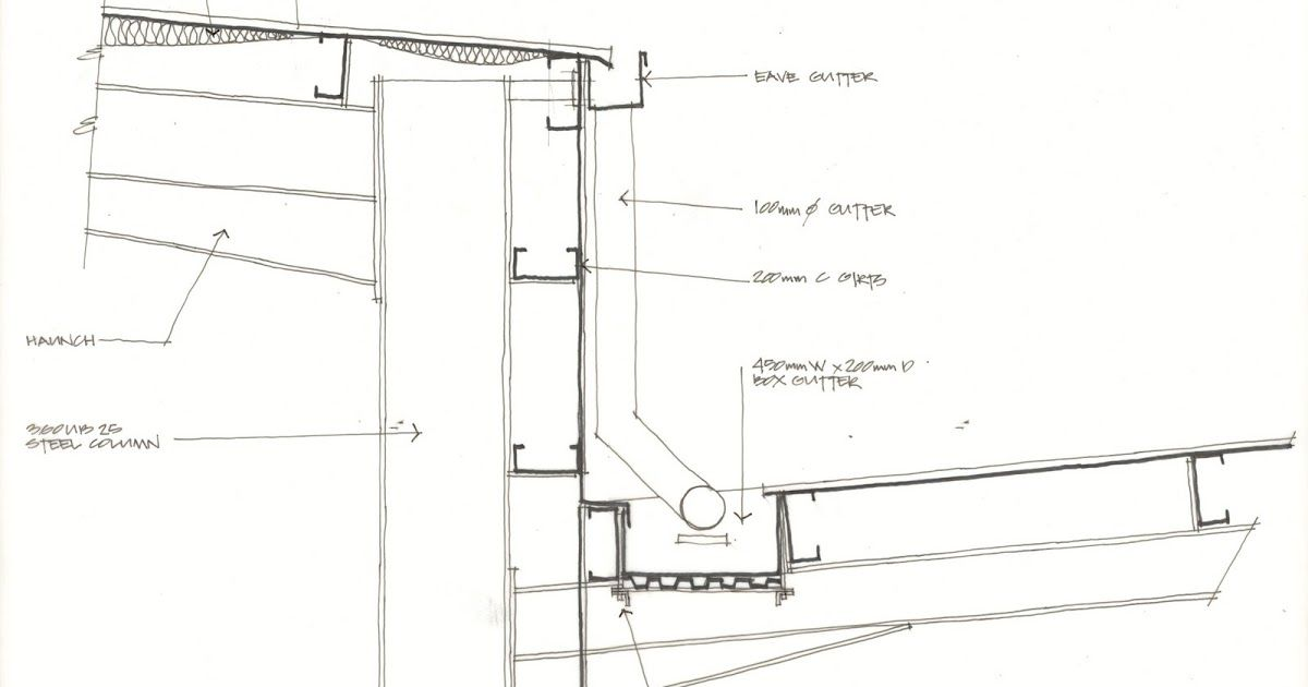 Box Gutter At The Junction Of Inward Sloping Canopy And A Wall Of A Warehouse Larch Cladding Box Gutter Gutters