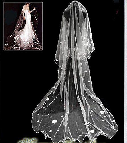 Qishi's Long Korean Flower Love Edge Bride Veil *** Click image for more details.