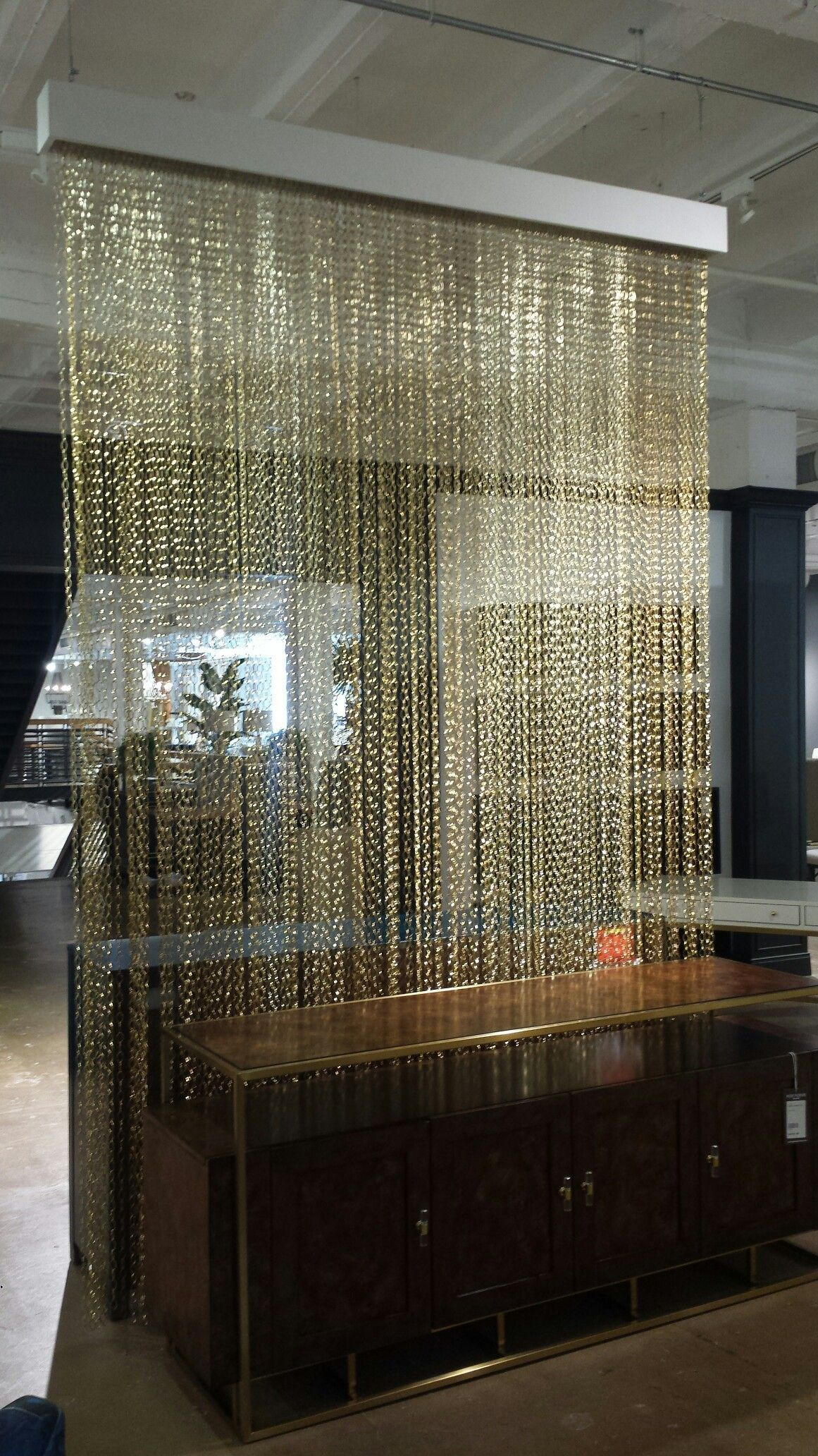 Gold chain curtain room divider for facial area salon pinterest