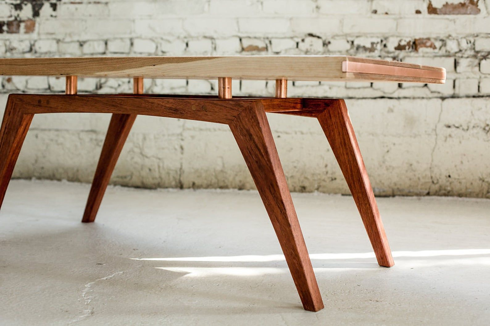 Midcentury Modern Coffee Table Solid Wood And Copper Etsy Mid Century Modern Coffee Table Midcentury Modern Dining Table Solid Wood Coffee Table [ 1059 x 1588 Pixel ]