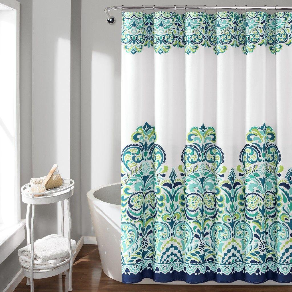 Clara Shower Curtain Blue Green Single 72x72 Lush Decor