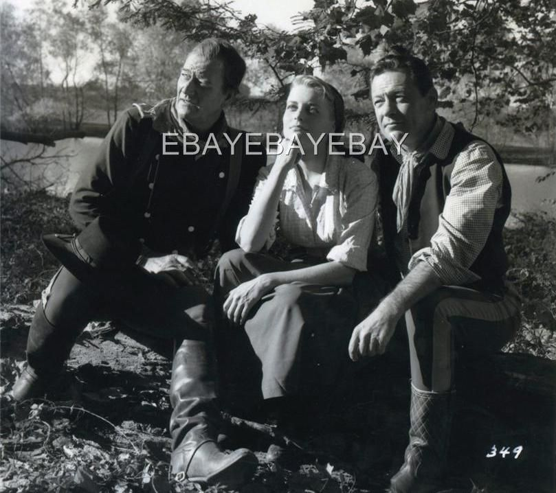 "John Wayne, Constance Towers and William Holden on the set of ""The Horse Soldiers"" (1959)"