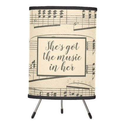 Music in Her Vintage Sheet Music Tripod Lamp | Zazzle.com